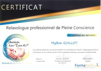 Certificat relaxologue de pleine conscience EBEME